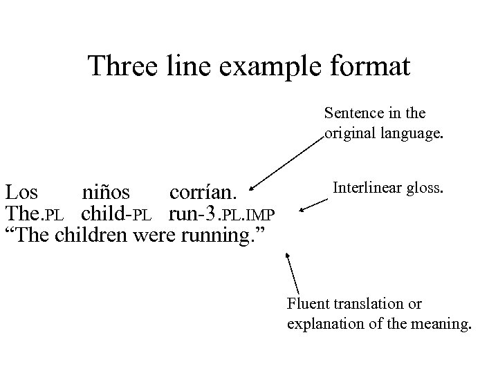 Three line example format Sentence in the original language. Los niños corrían. The. PL