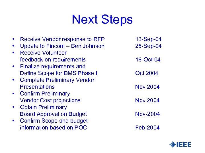 Next Steps • Receive Vendor response to RFP • Update to Fincom – Ben