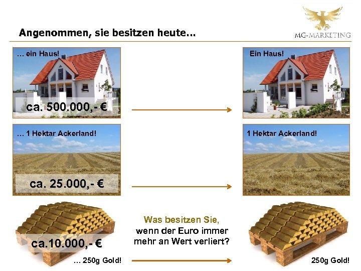 Angenommen, sie besitzen heute… … ein Haus! Ein Haus! ca. 500. 000, - €