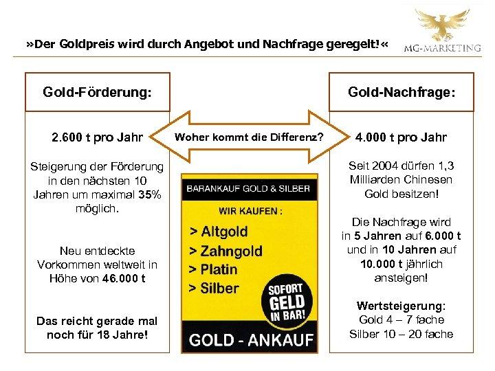 » Der Goldpreis wird durch Angebot und Nachfrage geregelt! « Gold-Förderung: 2. 600 t