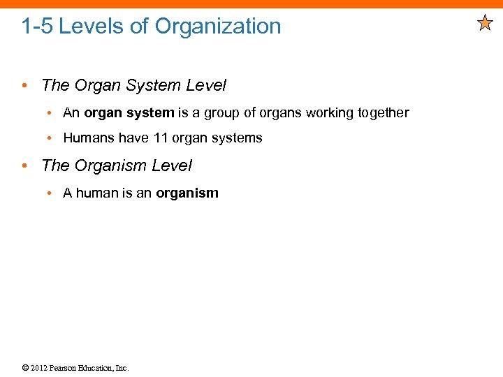 1 -5 Levels of Organization • The Organ System Level • An organ system