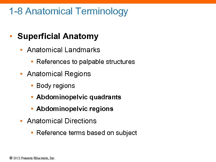 1 -8 Anatomical Terminology • Superficial Anatomy • Anatomical Landmarks • References to palpable