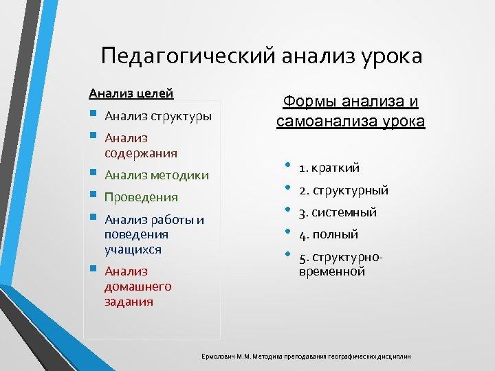 Педагогический анализ урока Анализ целей § § Анализ структуры § § § Анализ методики