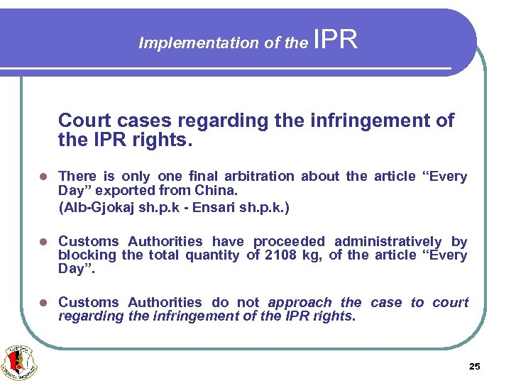 Implementation of the IPR Court cases regarding the infringement of the IPR rights. There
