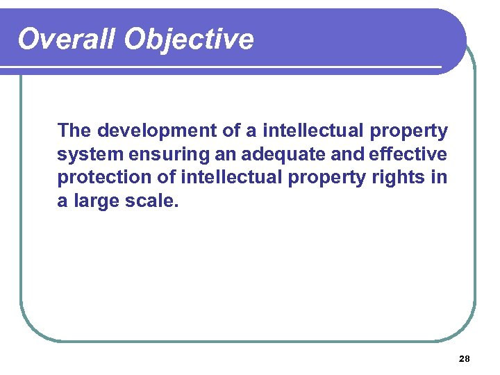 Overall Objective The development of a intellectual property system ensuring an adequate and effective