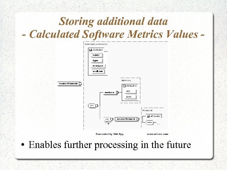Storing additional data - Calculated Software Metrics Values - • Enables further processing in