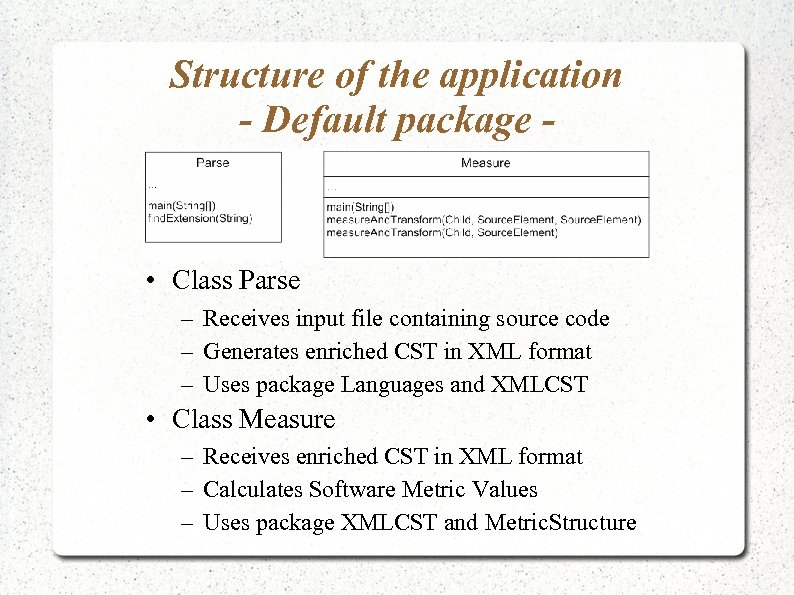 Structure of the application - Default package - • Class Parse – Receives input