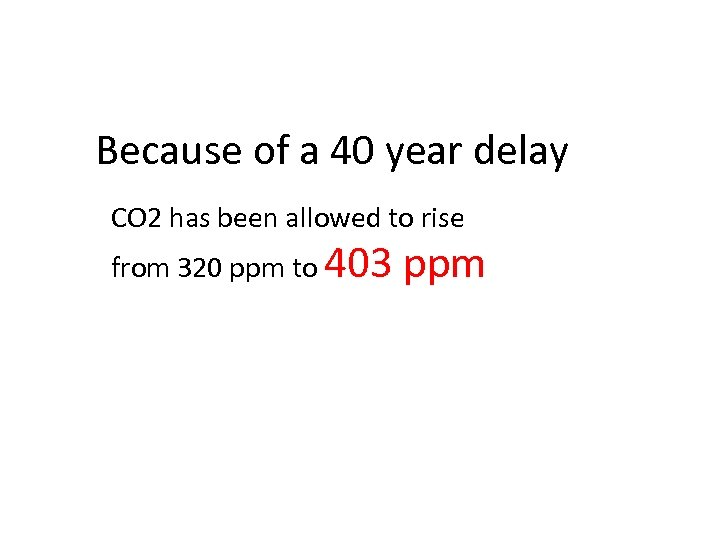 Because of a 40 year delay CO 2 has been allowed to rise from