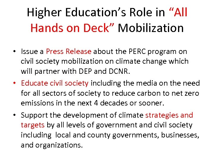 "Higher Education's Role in ""All Hands on Deck"" Mobilization • Issue a Press Release"