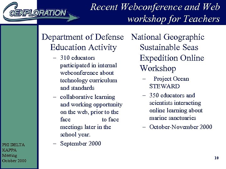Recent Webconference and Web workshop for Teachers Department of Defense National Geographic Education Activity