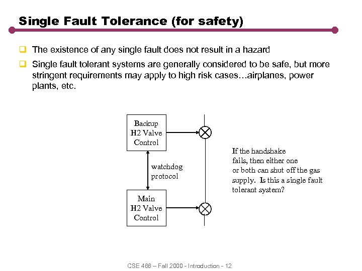 Single Fault Tolerance (for safety) q The existence of any single fault does not