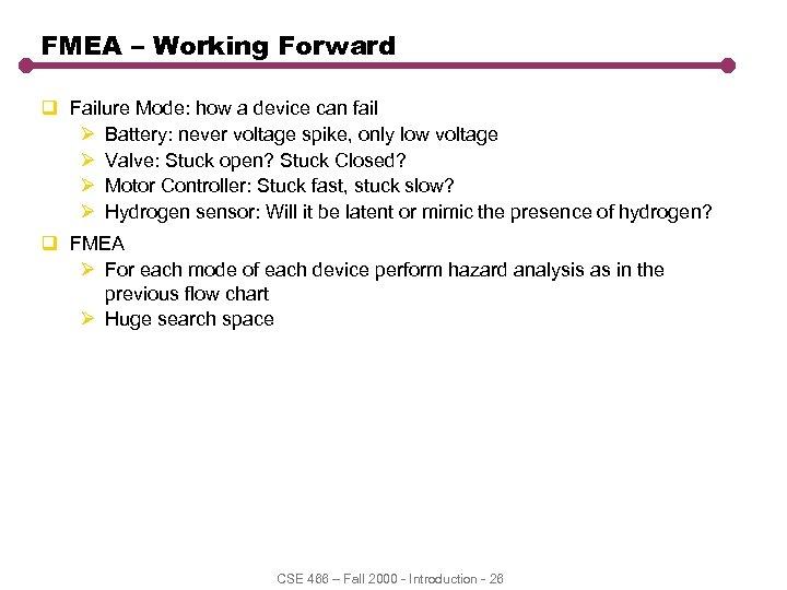 FMEA – Working Forward q Failure Mode: how a device can fail Ø Battery: