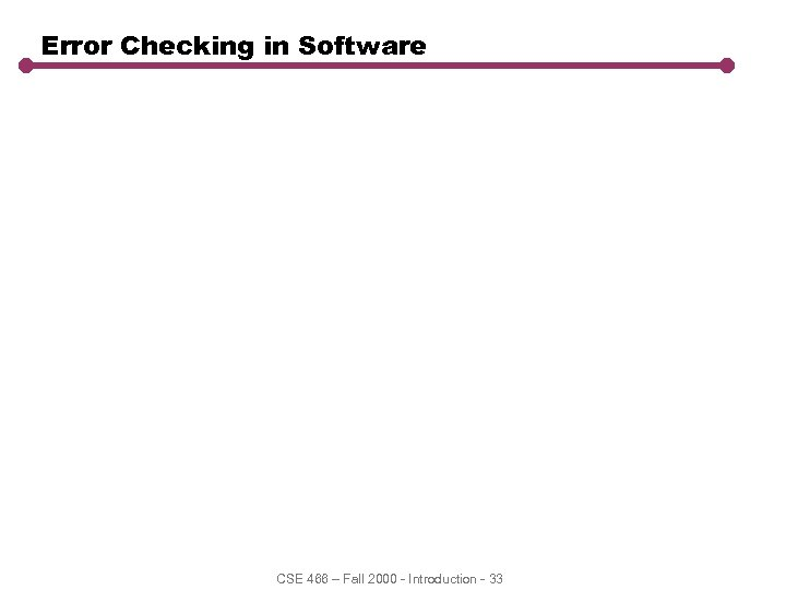 Error Checking in Software CSE 466 – Fall 2000 - Introduction - 33