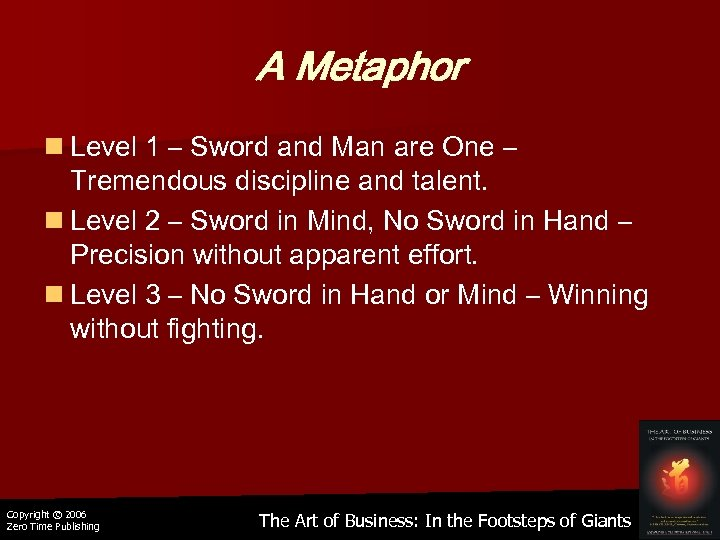 A Metaphor n Level 1 – Sword and Man are One – Tremendous discipline
