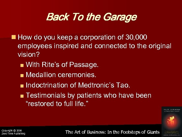 Back To the Garage n How do you keep a corporation of 30, 000
