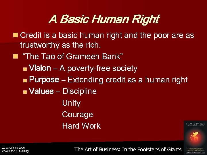 A Basic Human Right n Credit is a basic human right and the poor