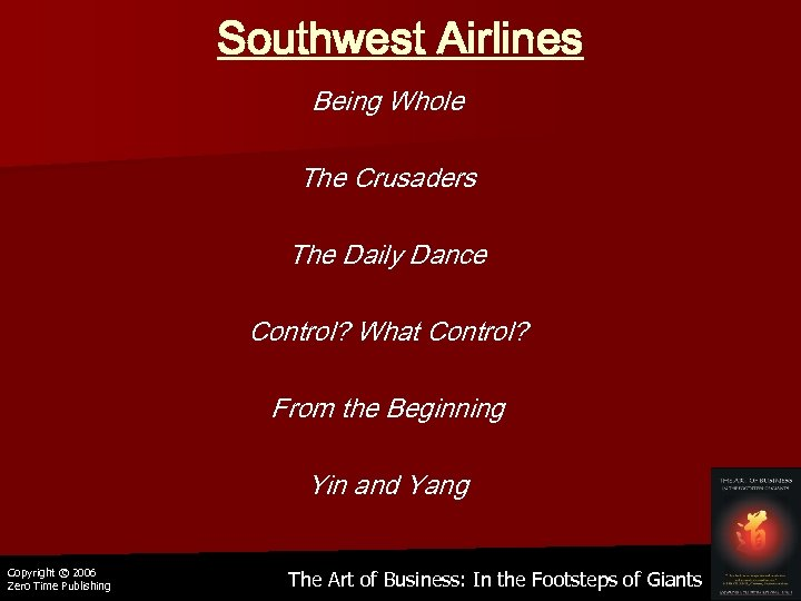 Southwest Airlines Being Whole The Crusaders The Daily Dance Control? What Control? From the