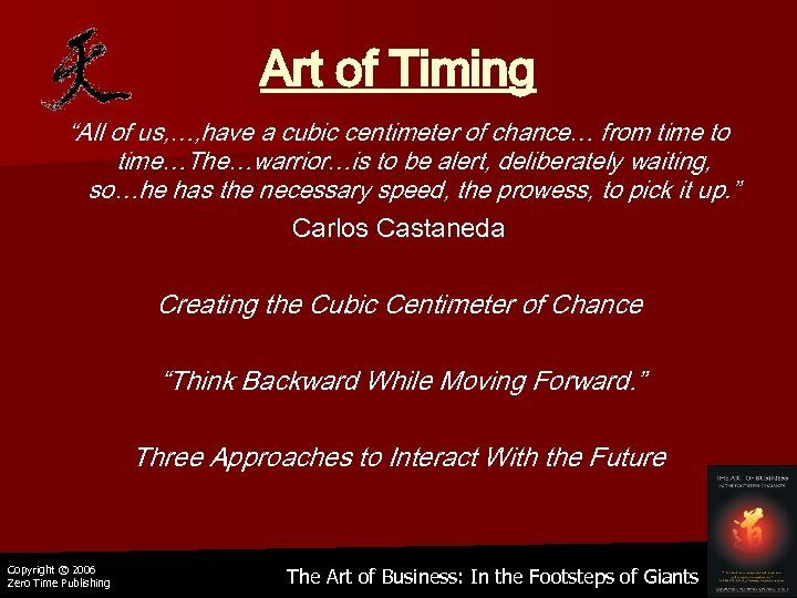 "Art of Timing ""All of us, …, have a cubic centimeter of chance… from"