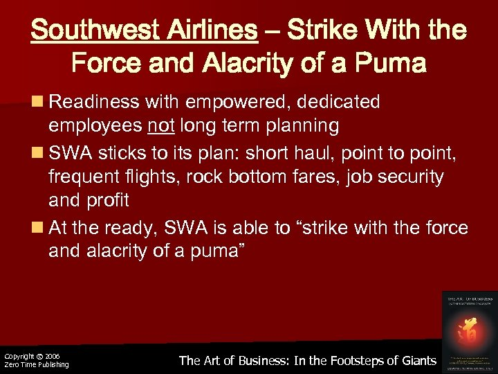 Southwest Airlines – Strike With the Force and Alacrity of a Puma n Readiness