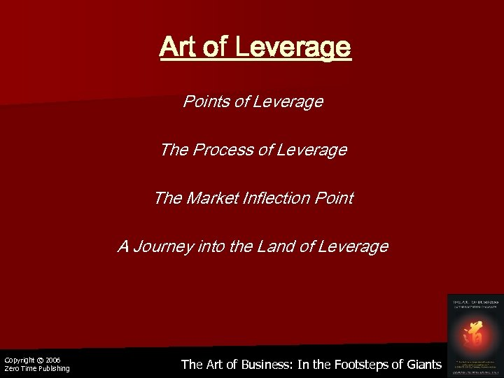 Art of Leverage Points of Leverage The Process of Leverage The Market Inflection Point