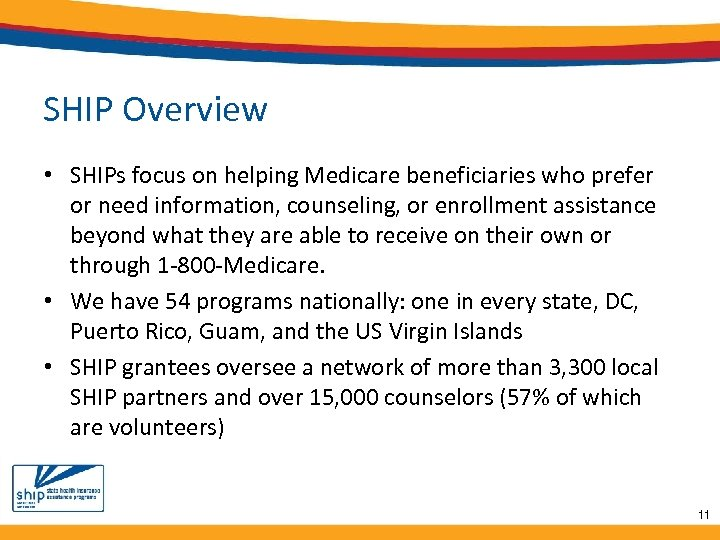 SHIP Overview • SHIPs focus on helping Medicare beneficiaries who prefer or need information,
