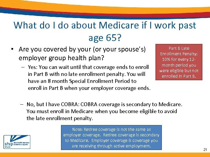 What do I do about Medicare if I work past age 65? • Are
