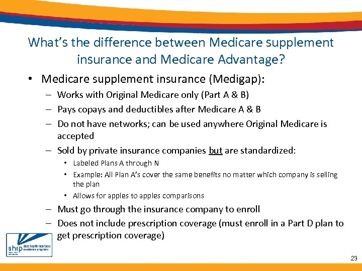 What's the difference between Medicare supplement insurance and Medicare Advantage? • Medicare supplement insurance