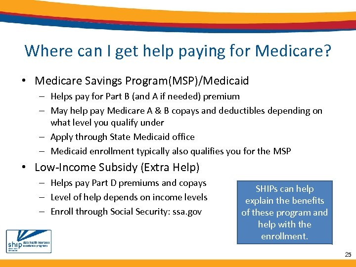 Where can I get help paying for Medicare? • Medicare Savings Program(MSP)/Medicaid – Helps