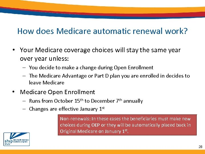 How does Medicare automatic renewal work? • Your Medicare coverage choices will stay the