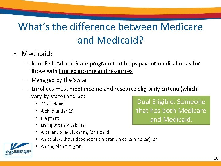 What's the difference between Medicare and Medicaid? • Medicaid: – Joint Federal and State