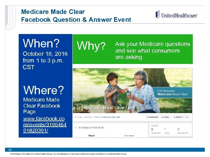 Medicare Made Clear Facebook Question & Answer Event When? October 18, 2016 from 1