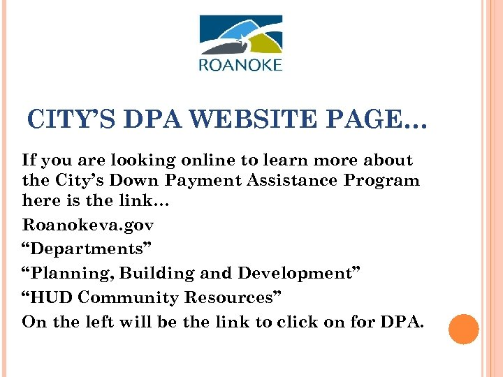 CITY'S DPA WEBSITE PAGE… If you are looking online to learn more about the