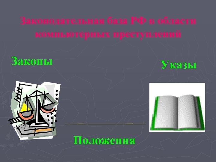 Законодательная база РФ в области компьютерных преступлений Законы Указы Положения