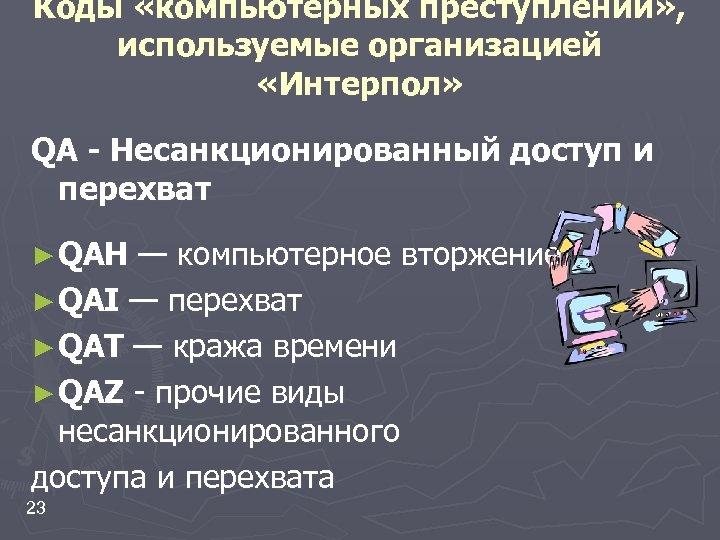 Коды «компьютерных преступлений» , используемые организацией «Интерпол» QA - Несанкционированный доступ и перехват ►