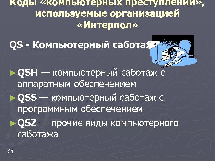 Коды «компьютерных преступлений» , используемые организацией «Интерпол» QS - Компьютерный саботаж ► QSH —