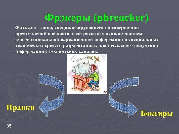 Фрэкеры (phreacker) Фрэкеры – лица, специализирующиеся на совершении преступлений в области электросвязи с использованием