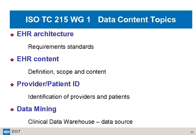 ISO TC 215 WG 1 Data Content Topics EHR architecture Requirements standards EHR content