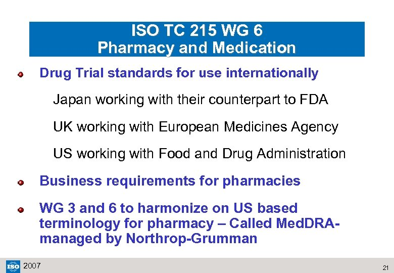 ISO TC 215 WG 6 Pharmacy and Medication Drug Trial standards for use internationally