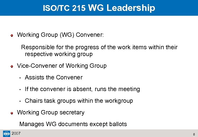 ISO/TC 215 WG Leadership Working Group (WG) Convener: Responsible for the progress of the