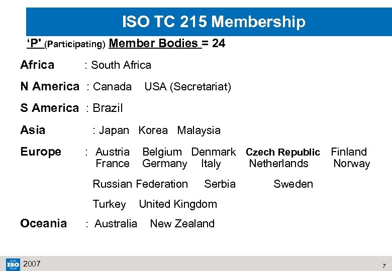 ISO TC 215 Membership 'P' (Participating) Member Bodies = 24 Africa : South Africa