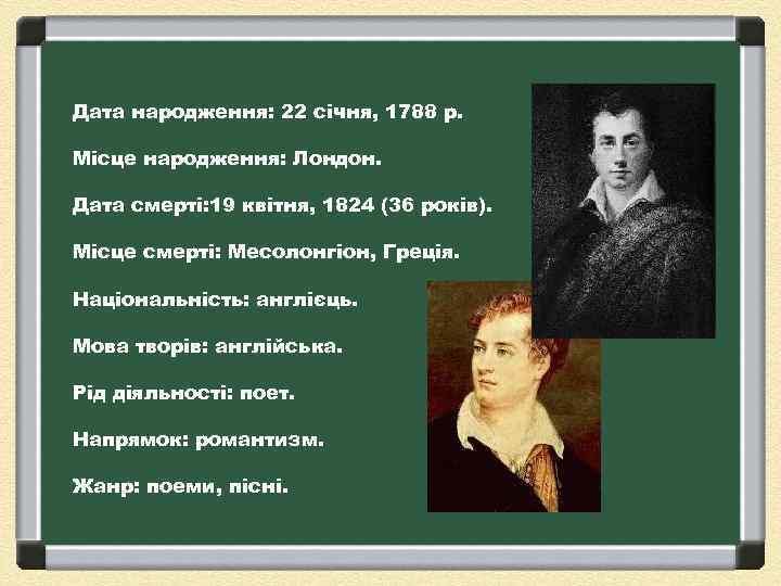 Дата народження: 22 січня, 1788 р. Місце народження: Лондон. Дата смерті: 19 квітня, 1824