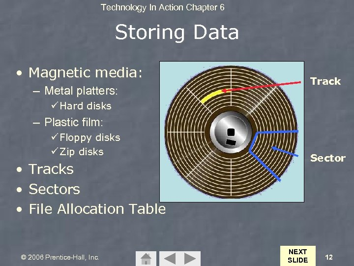 Technology In Action Chapter 6 Storing Data • Magnetic media: Track – Metal platters: