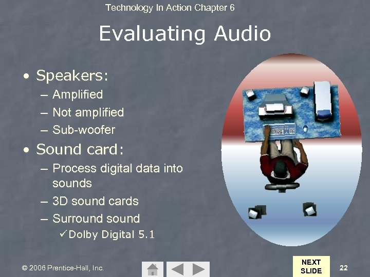 Technology In Action Chapter 6 Evaluating Audio • Speakers: – Amplified – Not amplified