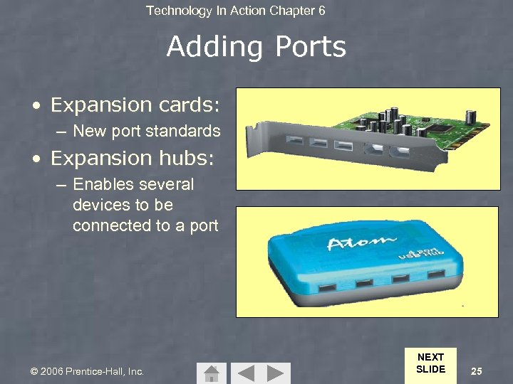 Technology In Action Chapter 6 Adding Ports • Expansion cards: – New port standards