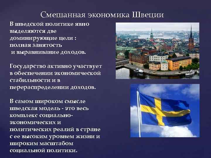 Смешанная экономика Швеции В шведской политике явно выделяются две доминирующие цели : полная занятость