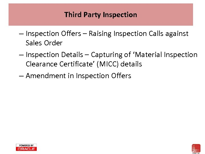 Third Party Inspection – Inspection Offers – Raising Inspection Calls against Sales Order –