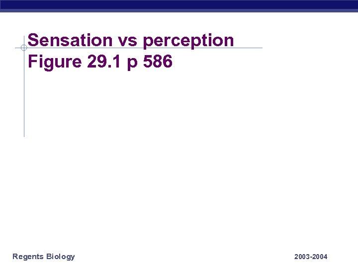 Sensation vs perception Figure 29. 1 p 586 Regents Biology 2003 -2004