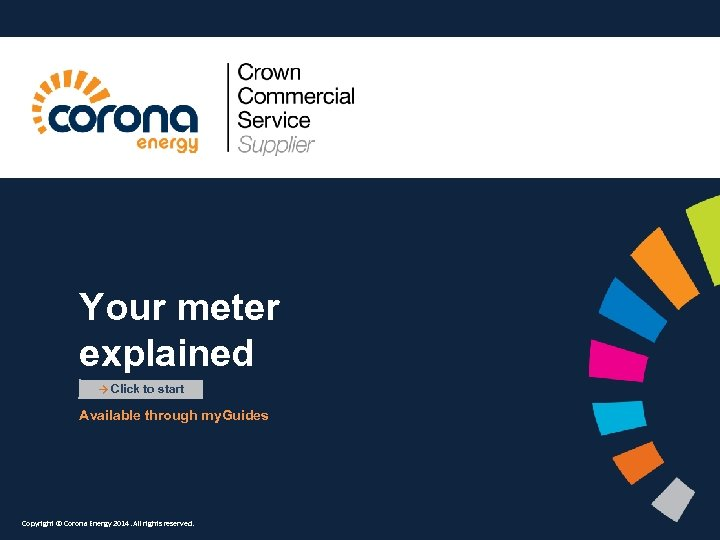 Your meter explained → Click to start Available through my. Guides Copyright © Corona