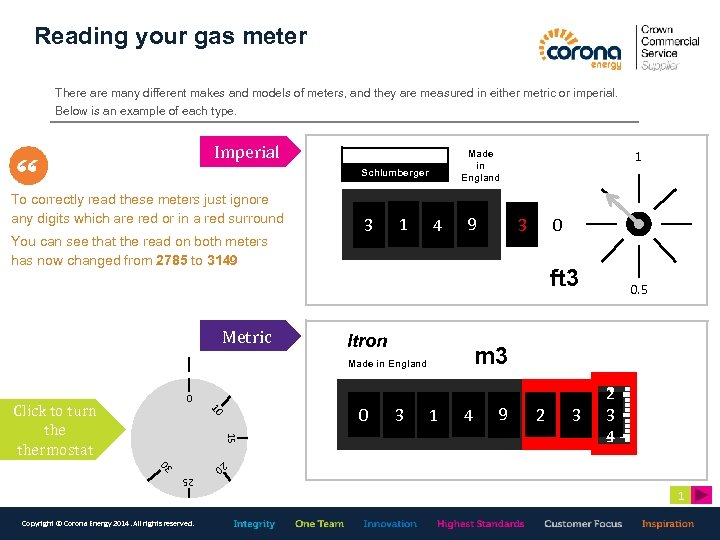 Reading your gas meter There are many different makes and models of meters, and