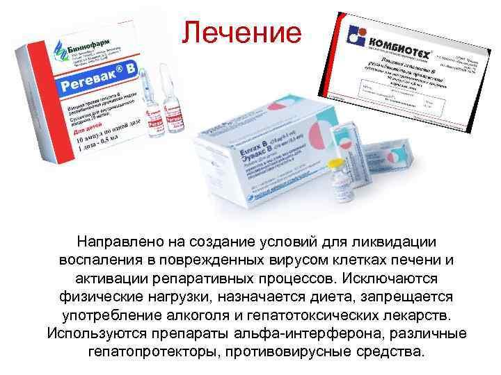 Лечение Направлено на создание условий для ликвидации воспаления в поврежденных вирусом клетках печени и
